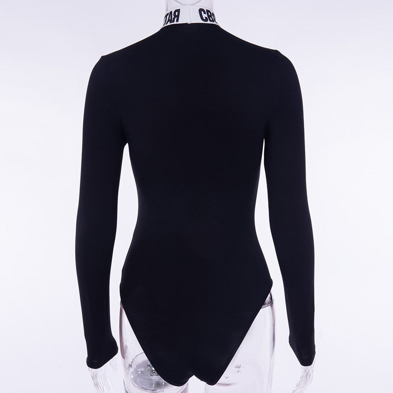 Gothic Turtleneck Letter Print Long Sleeve Bodysuits - WOMENEXY