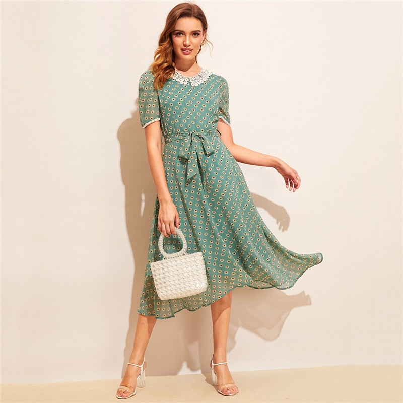 Vintage Allover Sunflower Print Lace Trim Belted Dress - Green - WOMENEXY