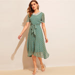 Load image into Gallery viewer, Vintage Allover Sunflower Print Lace Trim Belted Dress - Green - WOMENEXY