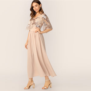 Glamorous V-Neck Contrast Sequin Mesh Sleeve Flare Dress - Apricot - WOMENEXY