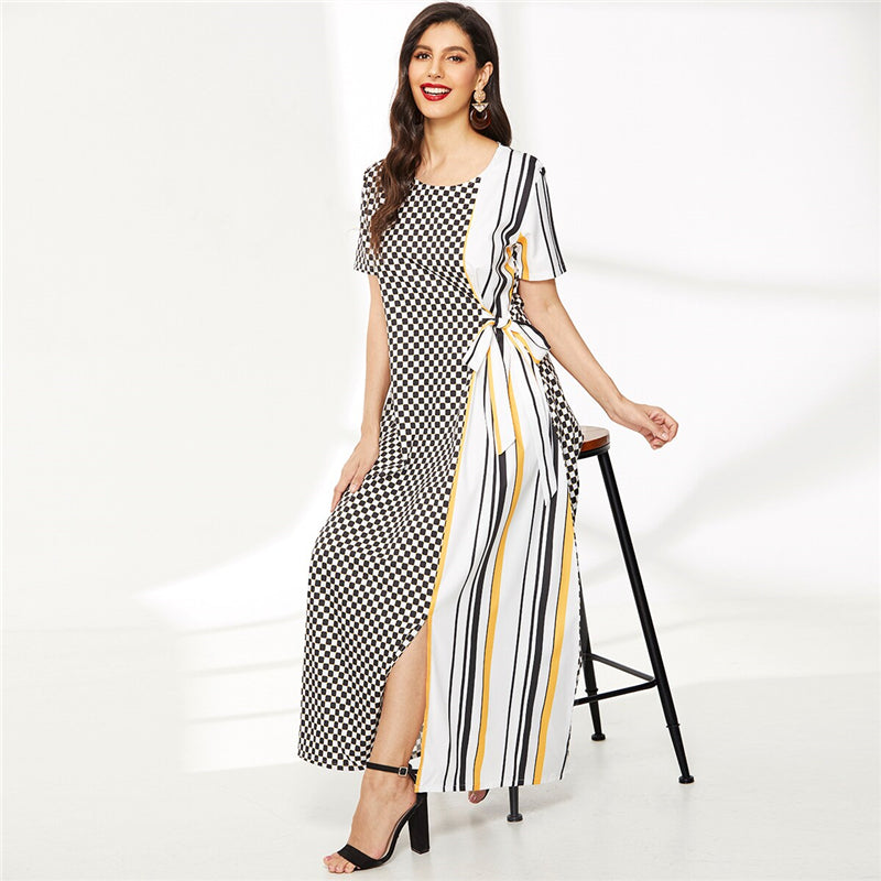 Contrast Gingham and Striped Print Knot-Side Dress - WOMENEXY