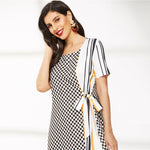 Load image into Gallery viewer, Contrast Gingham and Striped Print Knot-Side Dress - WOMENEXY
