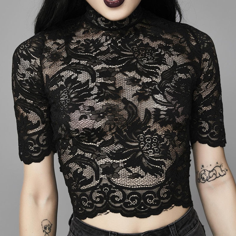 Aesthetic Mesh Hollow Out Hole Patchwork Crop Gothic T-Shirt (Black) - WOMENEXY