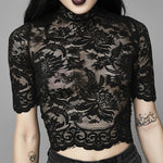 Load image into Gallery viewer, Aesthetic Mesh Hollow Out Hole Patchwork Crop Gothic T-Shirt (Black) - WOMENEXY