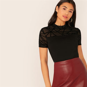 Elegant Mesh Yoke Trim Form Fitted Top - Black