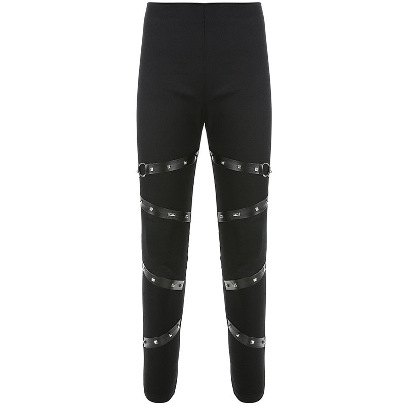 Gothic Eyelet PU Strap Pencil Pants (Black) - WOMENEXY