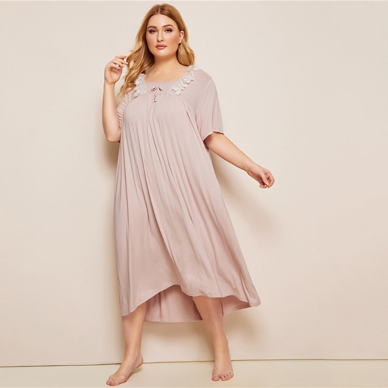 Casual Contrast Lace Short Sleeve Plus Size Night Dresses - Pink - WOMENEXY