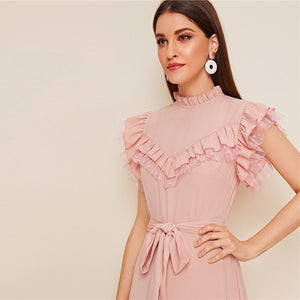 Layered Ruffle Detail Belted Fit and Flare Dress - Black / Pink - WOMENEXY
