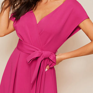 Elegant Zipper Back Surplice Neck Belted Flare Dress - Blue / Pink / Red / Fuchsia - WOMENEXY