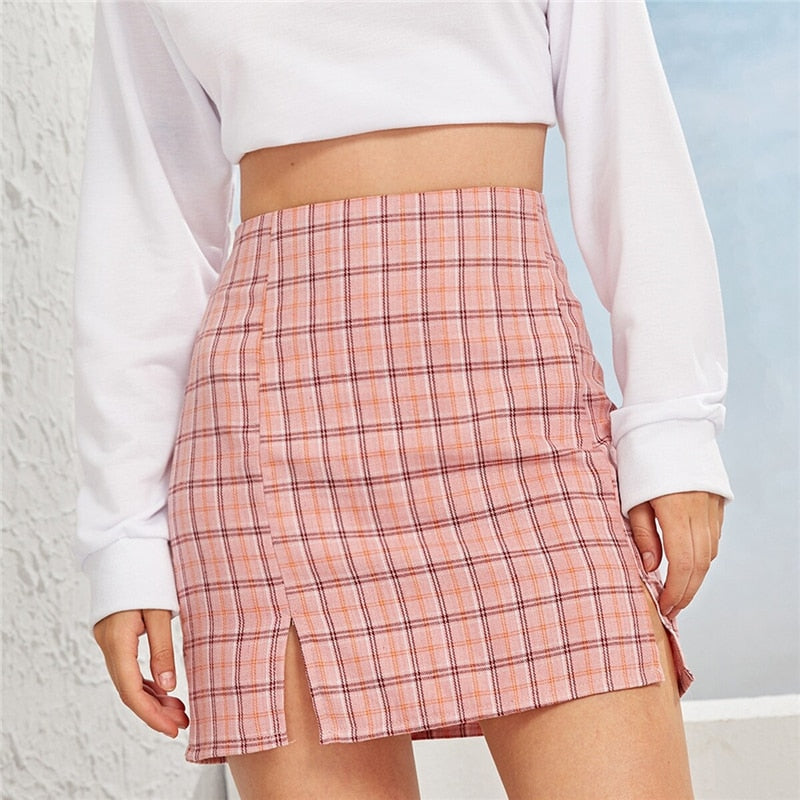 Casual Plaid Side Slit Bodycon Mini Skirt - Pink - WOMENEXY