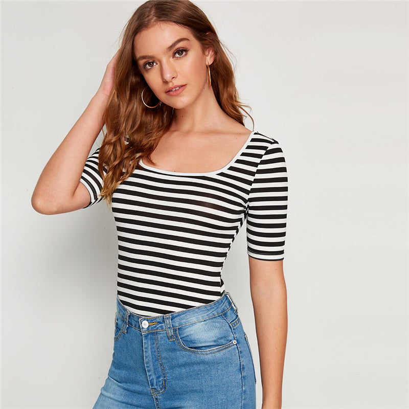 Casual Striped Print Square Neck Slim Fitted Tee - Black and White - WOMENEXY