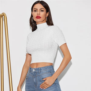 Sexy Solid Stand Collar Crop Sweater - White
