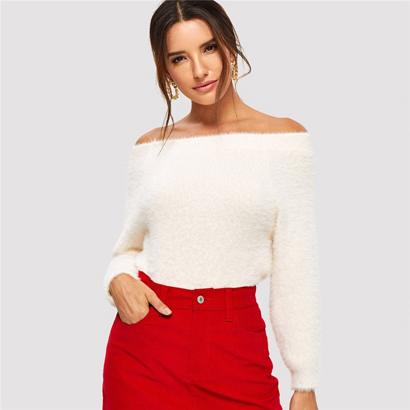 Elegant Solid Off The Shoulder Fuzzy Sweater - White