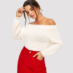 Elegant Solid Off The Shoulder Fuzzy Sweater - White - WOMENEXY