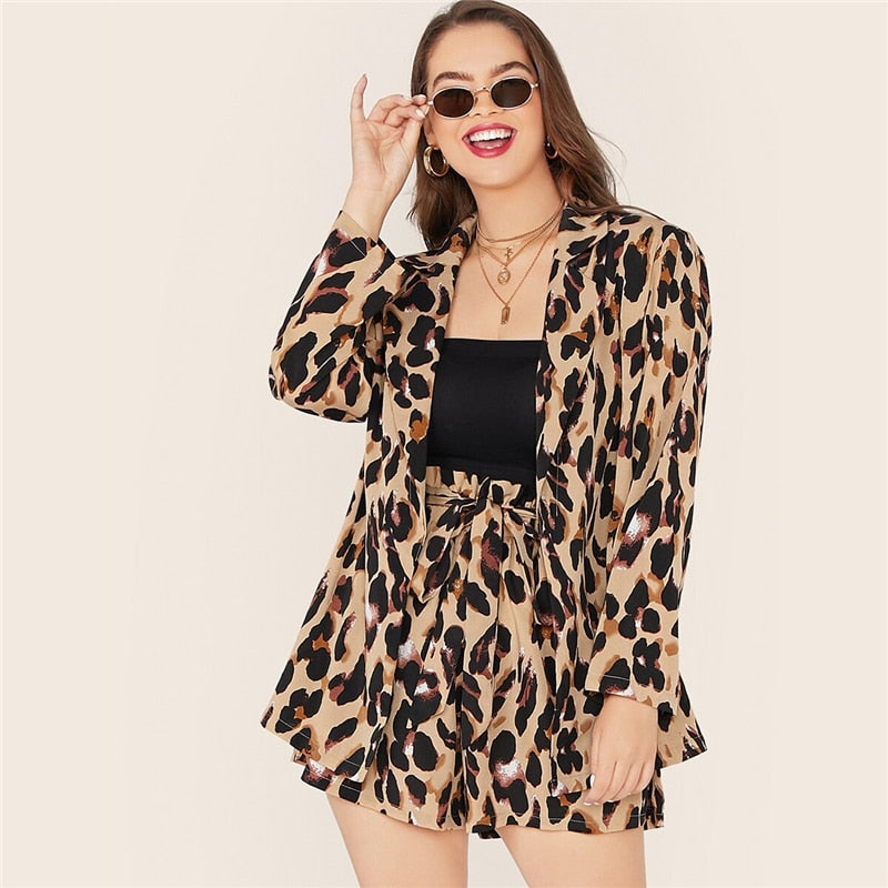 Glamorous Leopard Print Notch Collar Blazer and Belted Shorts Women Set