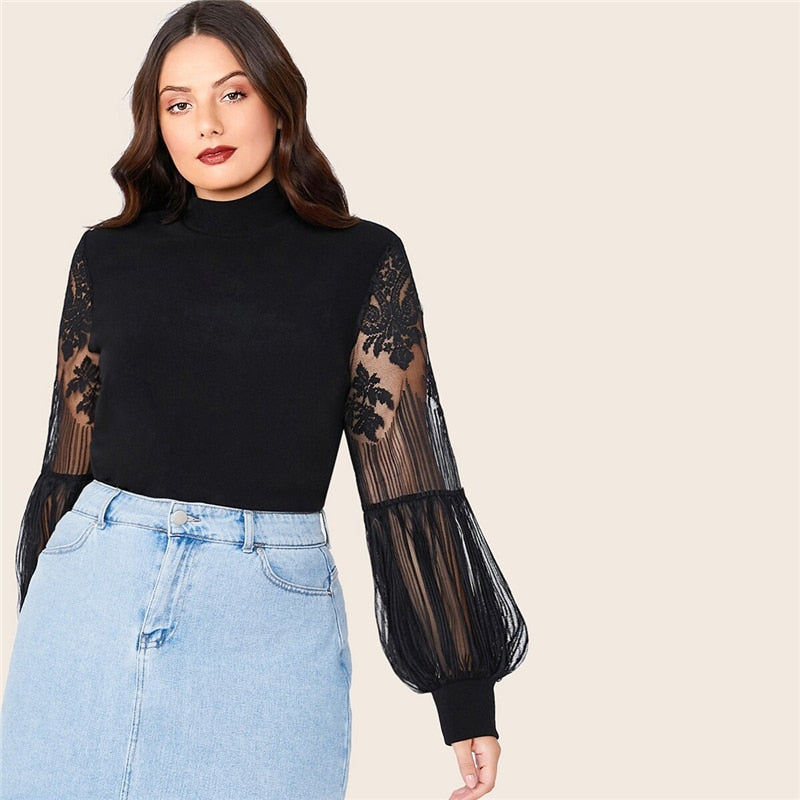 Elegant Mock Neck Lace Lantern Sleeve Fitted Plus Size Top - Black