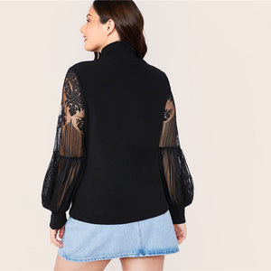 Elegant Mock Neck Lace Lantern Sleeve Fitted Plus Size Top - Black - WOMENEXY