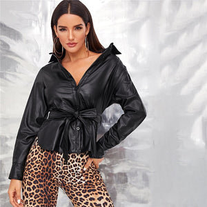 Glamorous Single Breasted Belted Faux Leather Jacket - Black