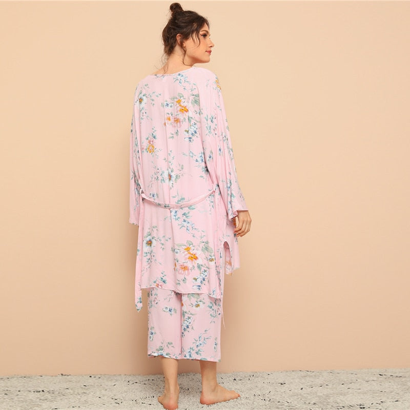 Casual Floral Print Cami Pajama Set With Robe - Pink / Multi - WOMENEXY