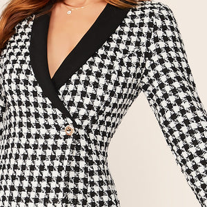 Elegant Shawl Collar Wrap Button Front Plaid Blazer - Black - WOMENEXY