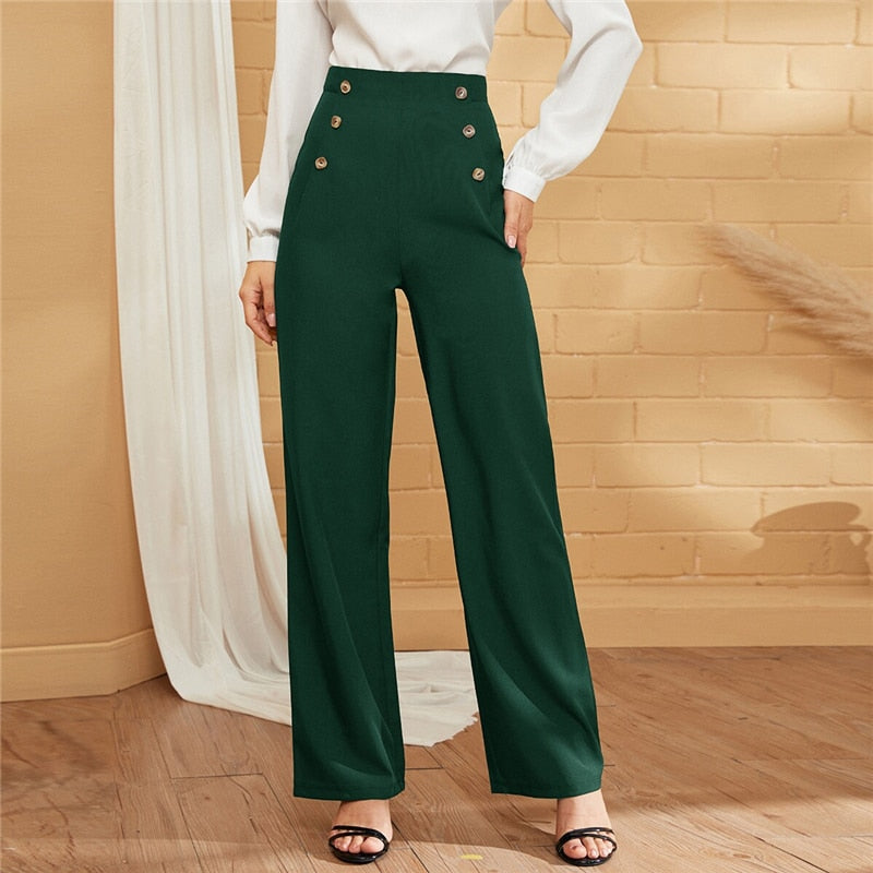 Elegant Double-Breasted Straight Leg Solid Long Pants - Green