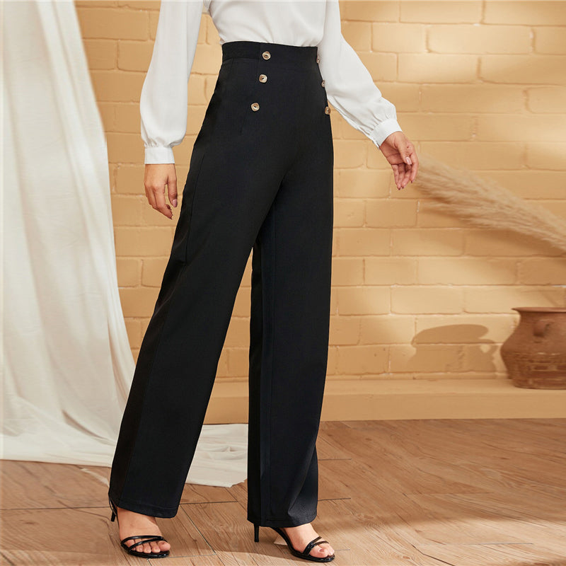 Elegant Double-Breasted Straight Leg Solid Long Pants - Black