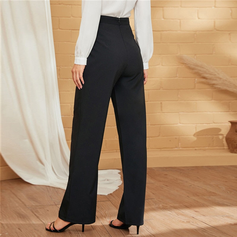 Elegant Double-Breasted Straight Leg Solid Long Pants - Black - WOMENEXY