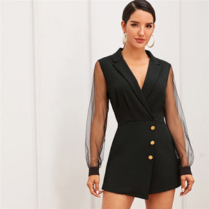 Elegant Notch Collar Mesh Sleeve Button Wrap Trim Skirt Romper - Black