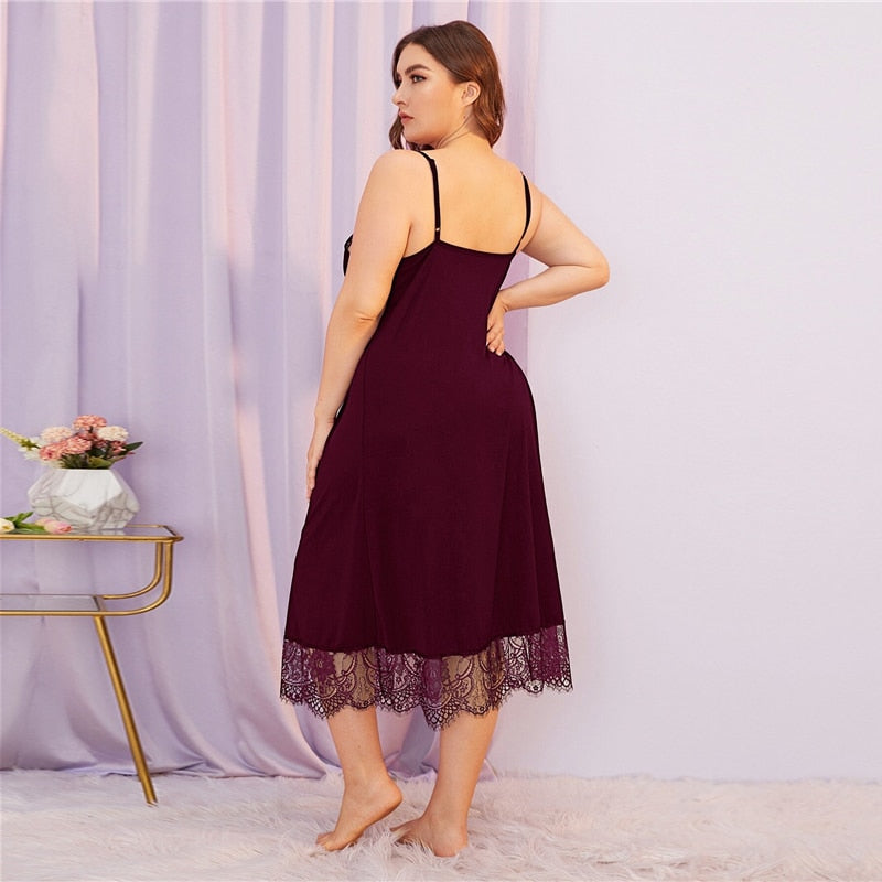 Sexy Contrast Lace Spaghetti Strap Plus Size Night Dresses - Red - WOMENEXY