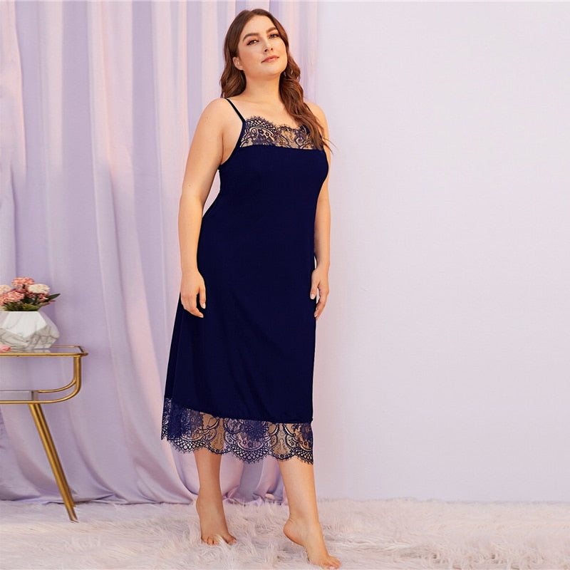 Sexy Contrast Lace Spaghetti Strap Plus Size Night Dresses - Blue - WOMENEXY