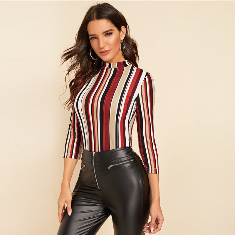 Elegant Mock-Neck Form Fitted Striped Top