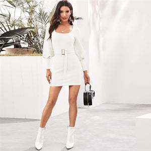 Elegant Scoop Neck Ribbed Knit Solid Pencil Sweater Dress With Belt - White - WOMENEXY