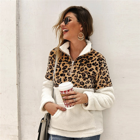 Casual Flannel Contrast Leopard Quarter Zipper Teddy Sweatshirt - White - WOMENEXY