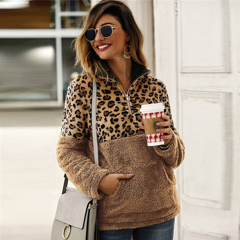 Casual Flannel Contrast Leopard Quarter Zipper Teddy Sweatshirt - Khaki - WOMENEXY