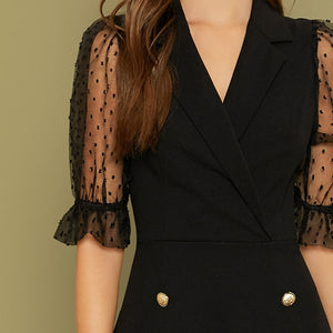 Elegant Notch Collar Double Button Front Dress - Black - WOMENEXY
