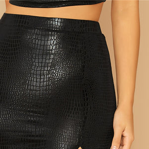 Sexy Split Side Snake Embossed Bodycon Skirt - WOMENEXY