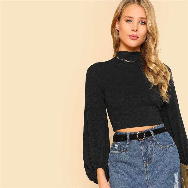Elegant Stand Collar Lantern Ruched Sleeve Rib-knit Crop Tee - Black