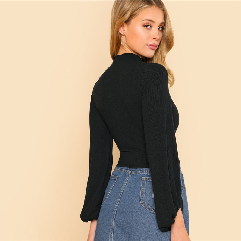 Elegant Stand Collar Lantern Ruched Sleeve Rib-knit Crop Tee - Black - WOMENEXY