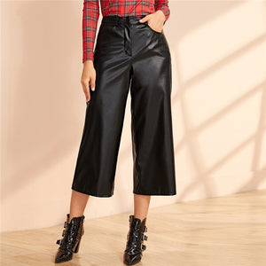 Glamorous Wide Leg PU Leather Capris Pants - Black