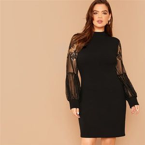 Elegant Mock-Neck Lace Lantern Sleeve Solid Plus Size Dress - Black