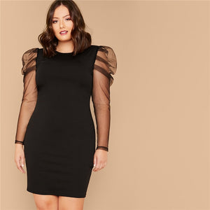 Elegant Sheer Gigot Sleeve Pencil Solid Plus Size Dress - Black