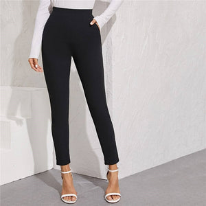 Elegant Solid Elastic Waist Pocket Side Split Hem Pants - Black