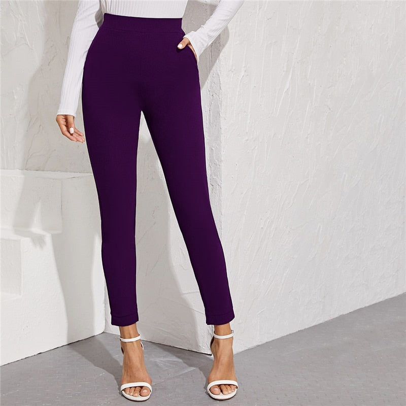 Elegant Solid Elastic Waist Pocket Side Split Hem Pants - Purple