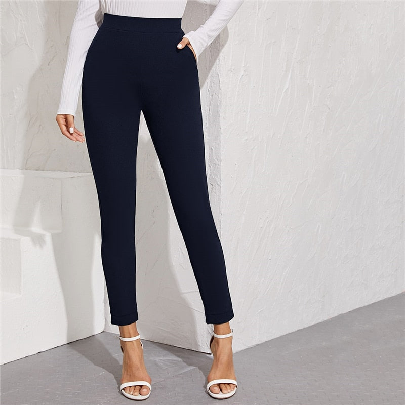 Elegant Solid Elastic Waist Pocket Side Split Hem Pants - Blue