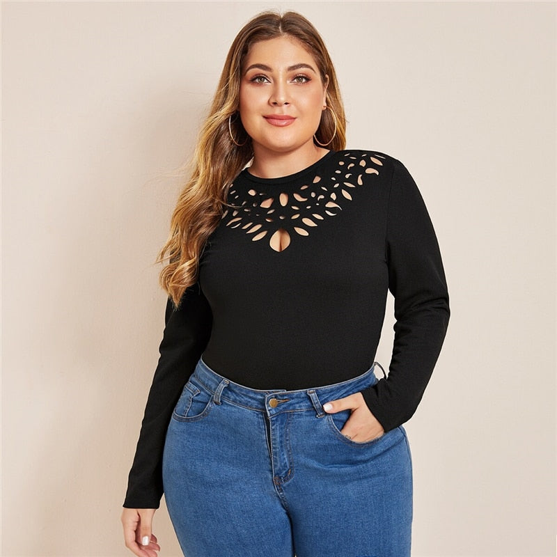 Elegant Keyhole Back Laser Cut Front Plus Size Top - Black