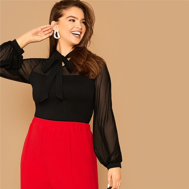 Elegant Tie Neck Mesh Sleeve Top Plus Size Blouse - Black