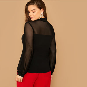 Elegant Tie Neck Mesh Sleeve Top Plus Size Blouse - Black - WOMENEXY