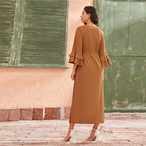 Elegant Tiered Layer Bell Sleeve Ruffle Trim Pleated Dress - Camel - WOMENEXY