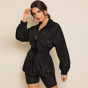 Casual Zip Up Pocket Patched Jacket - Black - WOMENEXY