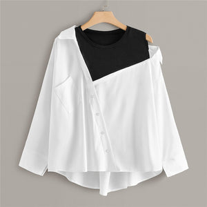 Casual Contrast Panel Asymmetrical Neck Plus Size Blouse - White